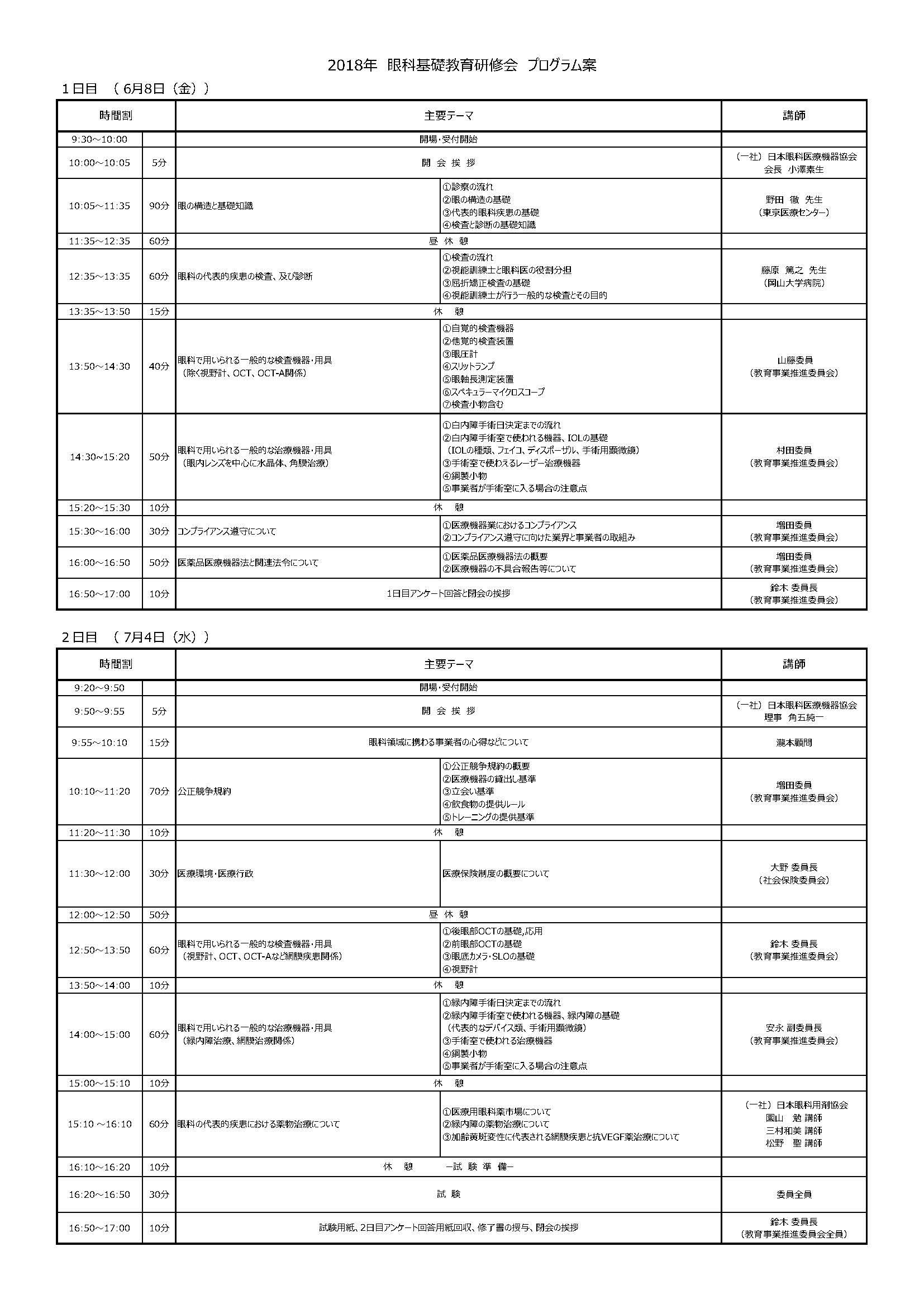 2018眼科基礎教育研修会プログラム